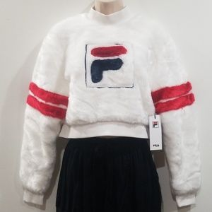 Fila women's white faux fur sweat shirt size small